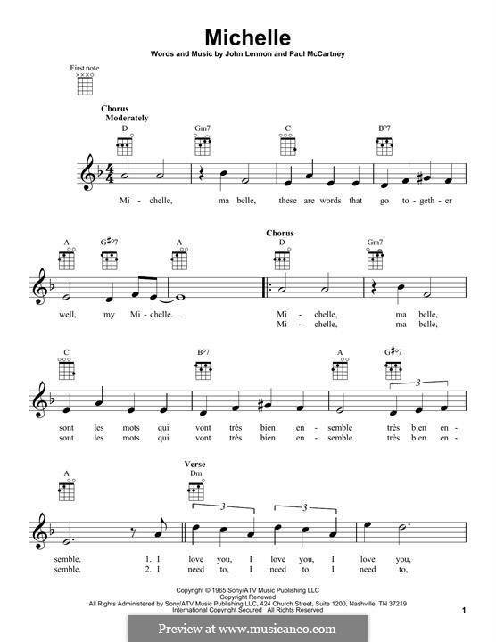 Michelle (The Beatles), for One Instrument: Для укулеле by John Lennon, Paul McCartney