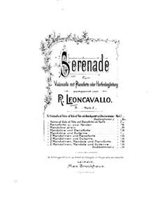 Серенада для виолончели и фортепиано (или арфы): Партитура by Руджеро Леонкавалло
