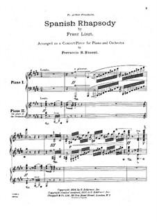 Испанская рапсодия, S.254: Для двух фортепиано в 4 руки by Франц Лист