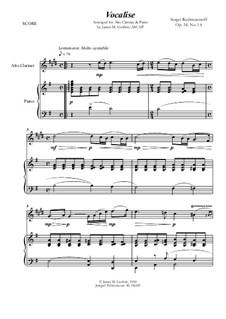 Вокализ, Op.34 No.14: For Alto Clarinet and Piano by Сергей Рахманинов
