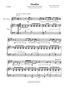 Вокализ, Op.34 No.14: For Bass Clarinet and Piano by Сергей Рахманинов