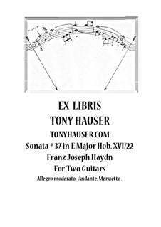 Соната для фортепиано No.37 ми мажор, Hob.XVI/22: Version for two guitars – parts by Йозеф Гайдн