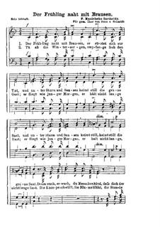 Der Frühling naht mit Brausen: Klavierauszug mit Singstimmen by Феликс Мендельсон-Бартольди