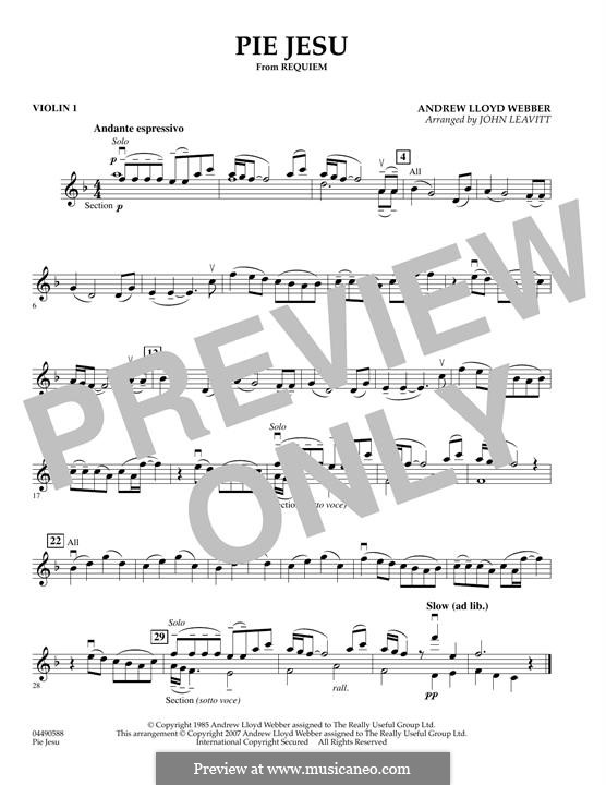 Pie Jesu (from Requiem): For string orchestra – Violin 1 part by Andrew Lloyd Webber