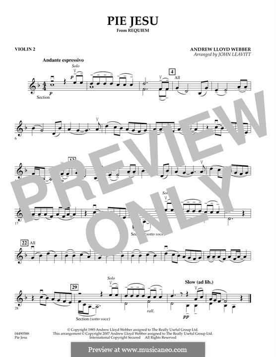 Pie Jesu (from Requiem): For string orchestra – Violin 2 part by Andrew Lloyd Webber