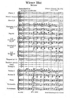 Венская кровь, Op.354: Партитура by Иоганн Штраус (младший)