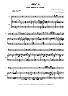 Exsultate, jubilate, K.165: Alleluia, for Cello solo and Piano by Вольфганг Амадей Моцарт