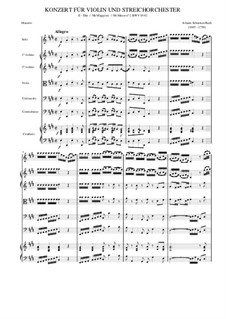 Концерт для скрипки, струнных и бассо континуо No.2 ми мажор, BWV 1042: Партитура by Иоганн Себастьян Бах