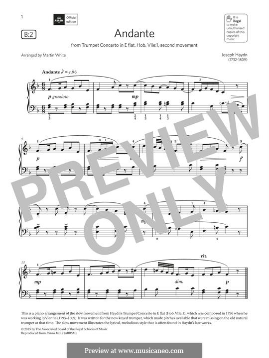 Струнный квартет фа мажор, Hob.III/17 Op.3 No.5: AMovement II, for piano (fragment) by Йозеф Гайдн