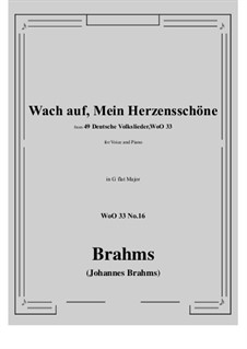 No.15-21: No.16 Wach auf, Mein Herzensschone (G flat Major) by Иоганнес Брамс