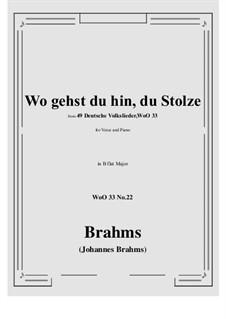 No.22-28: No.22 Wo gehst du hin, du Stolze (B flat Major) by Иоганнес Брамс