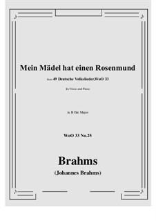 No.22-28: No.25 Mein Madel hat einen Rosenmund (B flat Major) by Иоганнес Брамс