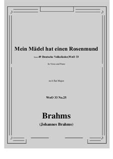 No.22-28: No.25 Mein Madel hat einen Rosenmund (A flat Major) by Иоганнес Брамс