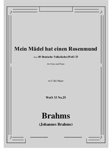 No.22-28: No.25 Mein Madel hat einen Rosenmund (G flat Major) by Иоганнес Брамс