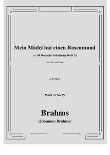 No.22-28: No.25 Mein Madel hat einen Rosenmund (B Major) by Иоганнес Брамс
