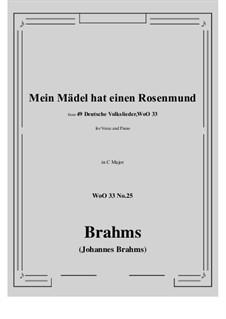 No.22-28: No.25 Mein Madel hat einen Rosenmund (C Major) by Иоганнес Брамс