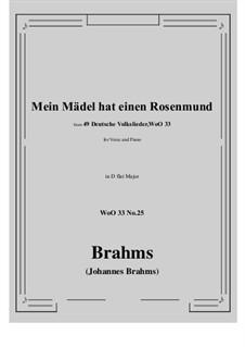 No.22-28: No.25 Mein Madel hat einen Rosenmund (D flat Major) by Иоганнес Брамс