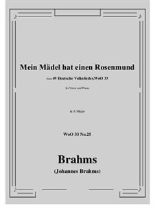 No.22-28: No.25 Mein Madel hat einen Rosenmund (A Major) by Иоганнес Брамс