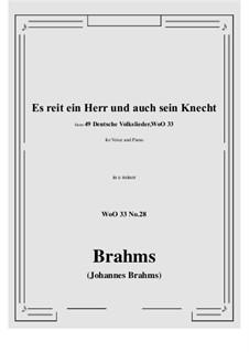 No.22-28: No.28 Es reit ein Herr und auch sein Knecht (e minor) by Иоганнес Брамс
