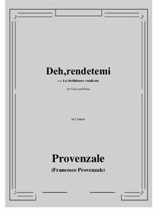 La Stellidaura vendicata. Deh, rendetemi: F minor by Francesco Provenzale