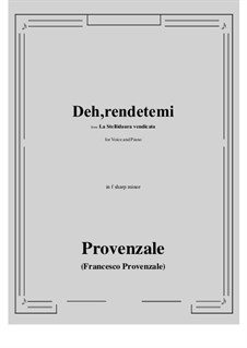 La Stellidaura vendicata. Deh, rendetemi: F sharp minor by Francesco Provenzale
