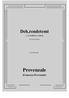 La Stellidaura vendicata. Deh, rendetemi: E flat minor by Francesco Provenzale
