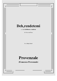 La Stellidaura vendicata. Deh, rendetemi: C sharp minor by Francesco Provenzale