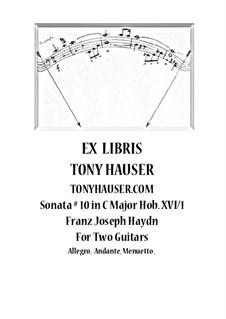 Соната для фортепиано No.10 до мажор, Hob.XVI/1: For two guitars – parts by Йозеф Гайдн