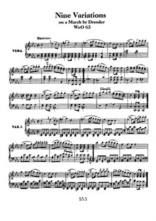 Девять вариаций на тему марша Э. Дресслера, WoO 63: Для фортепиано by Людвиг ван Бетховен