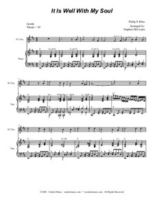 It Is Well with My Soul: For Flute or Violin solo and Piano by Philip Paul Bliss