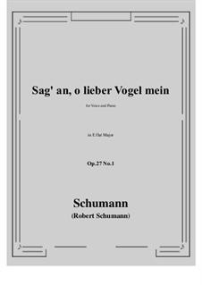 Песни и романсы, Op.27: No.1 Sag' an, о lieber Vogel mein (Tell Us, My Dear Bird) E flat Major by Роберт Шуман