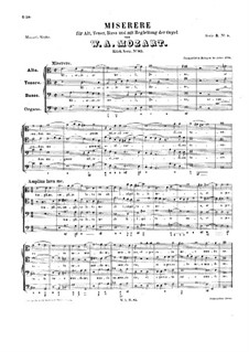 Miserere for Voices and Organ in A Minor, K.85: Miserere for Voices and Organ in A Minor by Вольфганг Амадей Моцарт