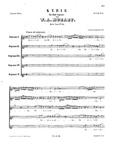 Кирие соль мажор, K.89: Вокальная партитура by Вольфганг Амадей Моцарт