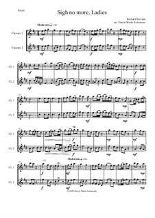 Sigh no more, Ladies: For 2 clarinets by Richard Stevens