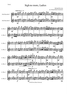 Sigh no more, Ladies: For 2 alto recorders by Richard Stevens