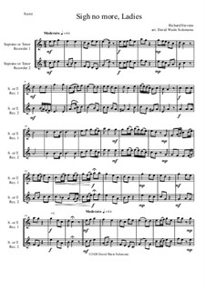 Sigh no more, Ladies: For 2 soprano or tenor recorders by Richard Stevens