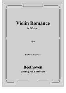 Романс для скрипки с оркестром No.1 соль мажор, Op.40: Версия для скрипки и фортепиано by Людвиг ван Бетховен