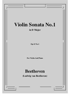 Три сонаты для скрипки и фортепиано, Op.12: Соната No.1 by Людвиг ван Бетховен