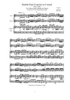 Концерт для скрипки, гобоя и струнных No.1 до минор, BWV 1060r: Version for two flutes and cembalo (or piano) by Иоганн Себастьян Бах
