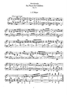 Шесть детских пьес, Op.72: Сборник by Феликс Мендельсон-Бартольди