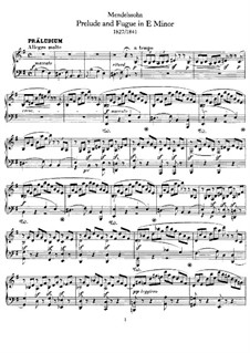Прелюдия и фуга ми минор, WoO 13: Для фортепиано by Феликс Мендельсон-Бартольди