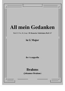 No.29-35: No.30 All mein Gedanken (G Major) for A cappella by Иоганнес Брамс