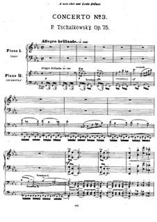 Концерт для фортепиано с оркестром No.3 ми-бемоль мажжор, TH 65 Op.75: Version for two pianos by Петр Чайковский