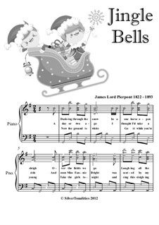 Jingle Bells, for Piano: Easy intermediate version with colored notation by James Lord Pierpont