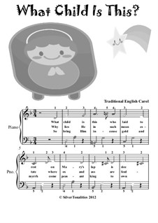 What Child is This, for Piano: Easy elementary version with colored notes by folklore