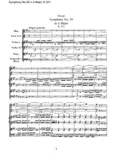 Симфония No.29 ля мажор, K.201: Партитура by Вольфганг Амадей Моцарт