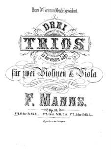 Три струнных трио, Op.16: Трио No.1 соль мажор by Фердинанд Маннс