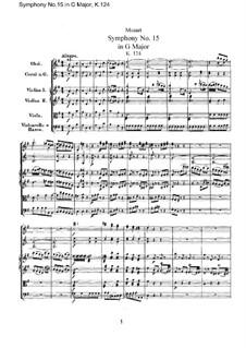 Симфония No.15 соль мажор, K.124: Партитура by Вольфганг Амадей Моцарт