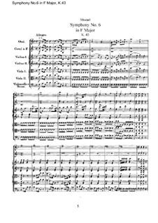 Симфония No.6 фа мажор, K.43: Партитура by Вольфганг Амадей Моцарт