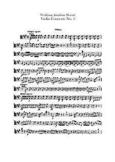 Концерт для скрипки с оркестром No.5 ля мажор 'Турецкий', K.219: Партия альта by Вольфганг Амадей Моцарт